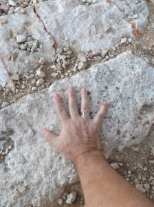 Keith's hand at the place where Jesus was tried before Pilot.